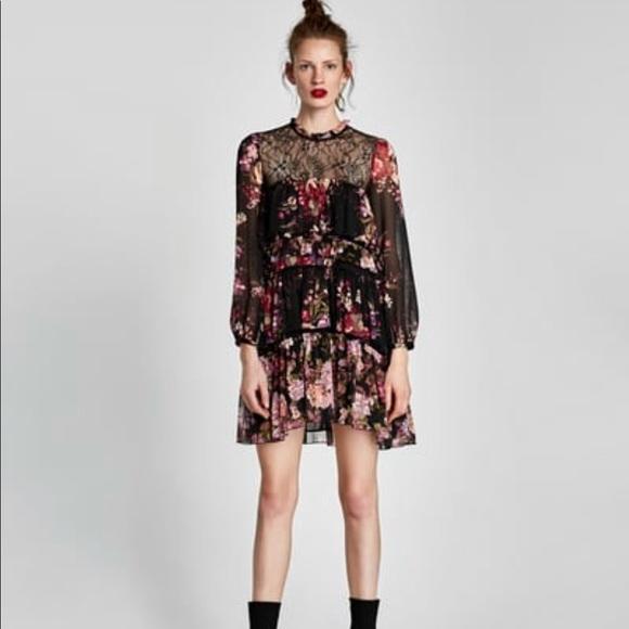a3809ee2 Zara Combined Lace Dress with Ruffles. M_5b9702eade6f6280049089fb